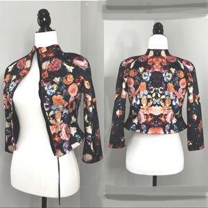 H&M | (2) Cropped Floral Black Zip-Up Blazer